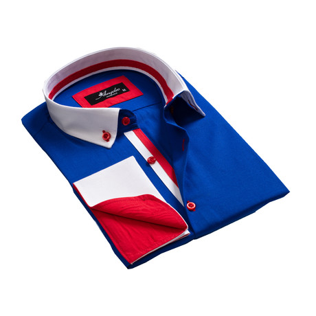 Reversible Cuff French Cuff Shirt // Medium Blue + White + Red (S)