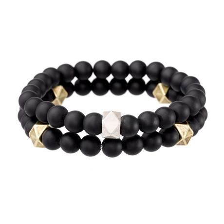 Onyx Beaded Stretch Bracelet // Black + Gold + Silver // Set of 2