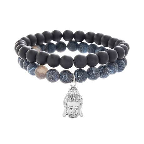 Willowbird // Buddha Charm Beaded Bracelet // Blue + Black // Set of 2
