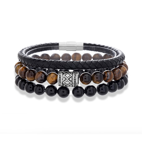 Willowbird // Leather + Stone Beaded Bracelet // Brown + Black // Set of 3