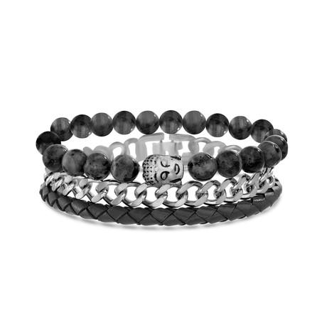 Beaded Trio Bracelet Set // Black + Gray