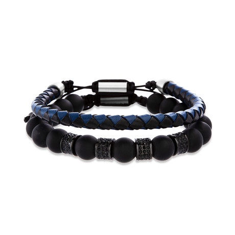 Steel Evolution // Braided Leather + Beaded Bracelets // Black + Blue // Set of 2