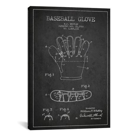 "Baseball Glove Charcoal Patent Blueprint // Aged Pixel (18""W x 26""H x 0.75""D)"