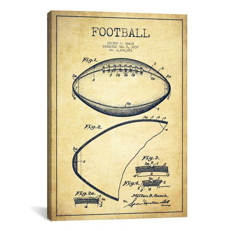 "Football Vintage Patent Blueprint // Aged Pixel (18""W x 26""H x 0.75""D)"
