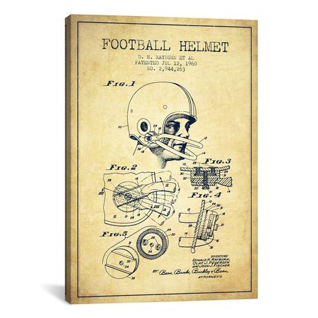 """Football Helmet Vintage Patent Blueprint // Aged Pixel (18""""W x 26""""H x 0.75""""D)"""