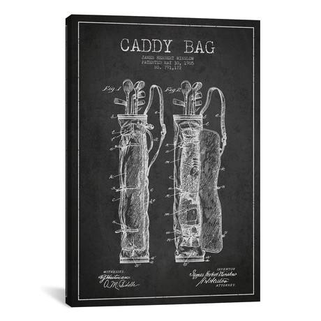 "Caddy Bag Charcoal Patent Blueprint // Aged Pixel (18""W x 26""H x 0.75""D)"