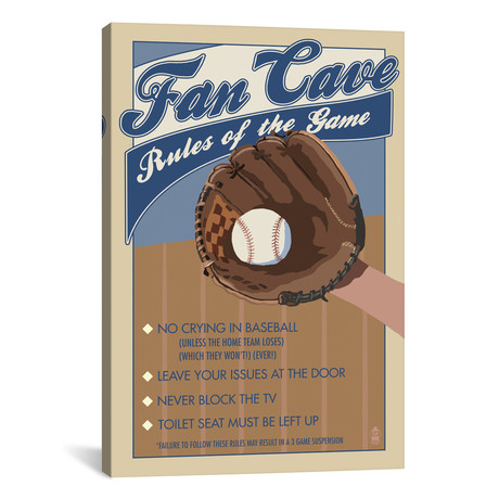 "Fan Cave Rules // Lantern Press (18""W x 26""H x 0.75""D)"