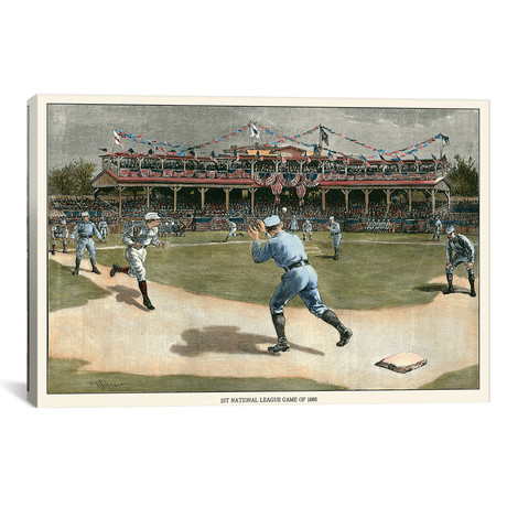 """National League Game, 1886 // Snyder (26""""W x 18""""H x 0.75""""D)"""