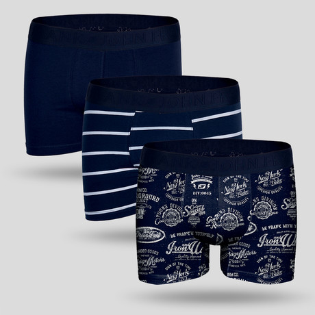 Campus Boxer // White + Blue // Set of 3 (M)