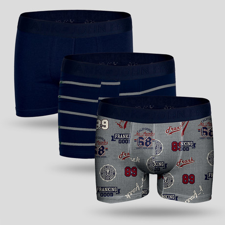 Campus Boxer // Gray + Blue // Set of 3 (M)