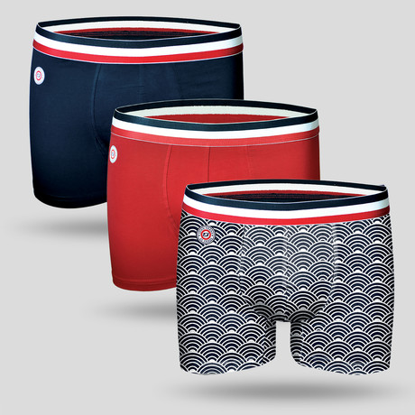 Marine Boxer // Red + Blue + White + Black // Set of 3 (M)