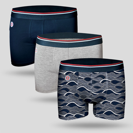 Marine Boxer // Blue + Gray // Set of 3 (M)