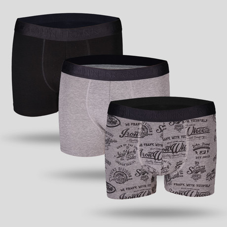 Campus Boxer // Black + Gray // Set of 3 (M)