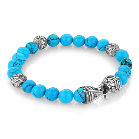 "Turquoise Beaded Bracelet // 8.2""L"