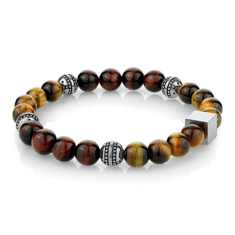 "Tiger Eye Beaded Bracelet // Brown (7.7"")"