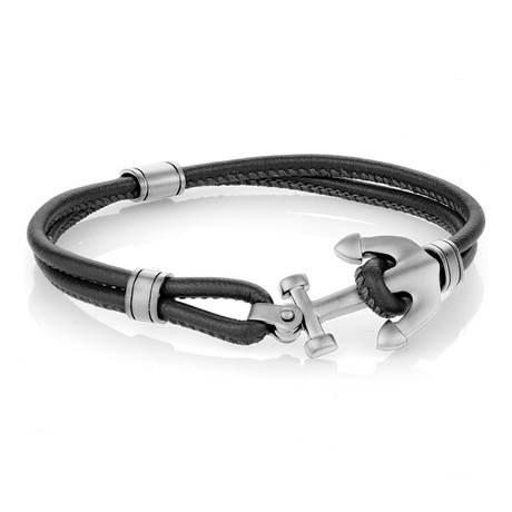 "Anchor + Matte Leather Bracelet (7.7"")"