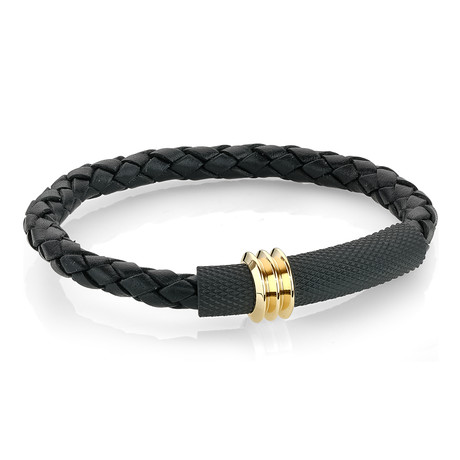 "Mesh Plate + Leather Bracelet // Black (7.7"")"