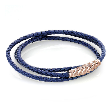 Leather Wrap Bracelet // Rose + Navy