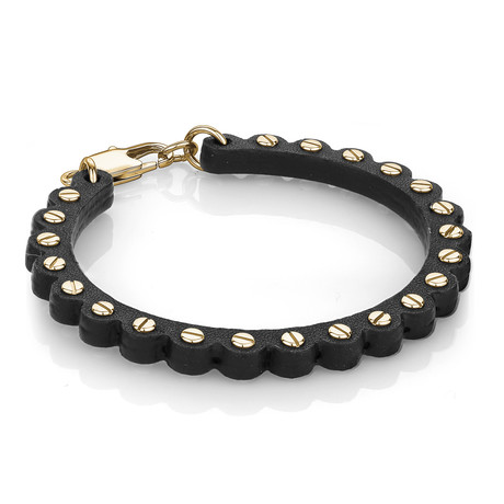 Screw + Leather Bracelet // Black + Yellow