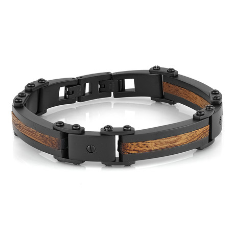 Wood-Inlay Bracelet // Matte Black
