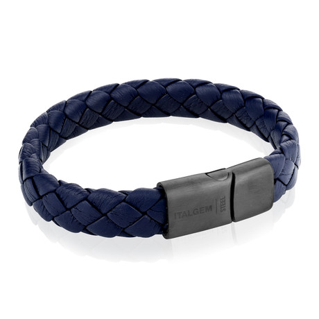 "Gun Clasp Leather Braided Bracelet // Navy Blue (7.7"")"
