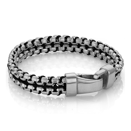 "Nylon + Steel Double Row Bracelet // Black (8"")"