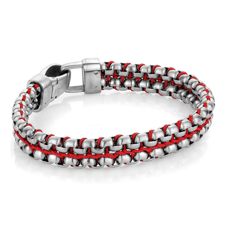 "Nylon + Steel Double Row Bracelet // Red (8"")"