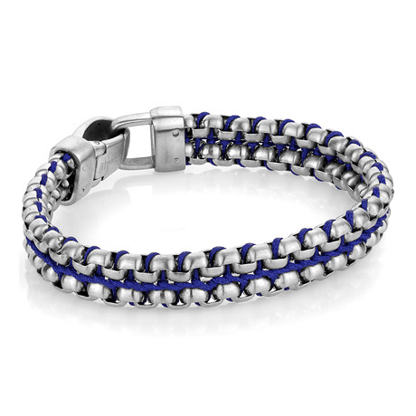 Nylon + Steel Double Row Bracelet // Blue