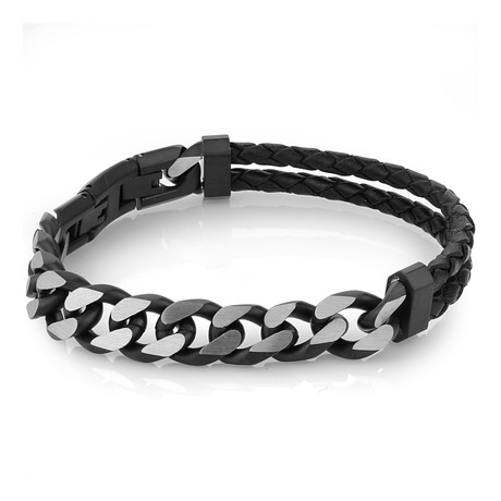 Cuban Link + Leather Bracelet // Black