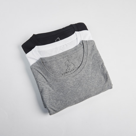 Crew Neck Essentials // Set of 3 // Black + White + Gray (S)