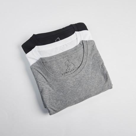 Crew Neck Essentials // Set of 3 // Black + White + Gray (S)