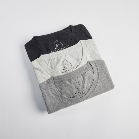 Crew Neck Pepper Pack // Set of 3 // Shades of Gray (S)