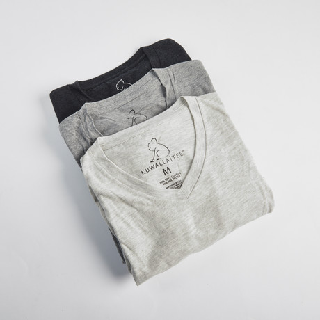 V-Neck Pepper Pack // Set of 3 // Shades of Gray (S)