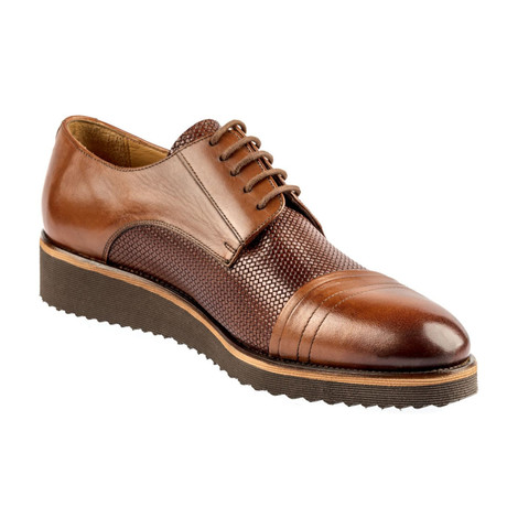 Alvis Two-Tone Textured Dress Shoes // Tobacco + Brown (Euro: 37)