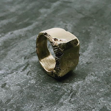 Block Chip Signet in Antiqued Brass (5)