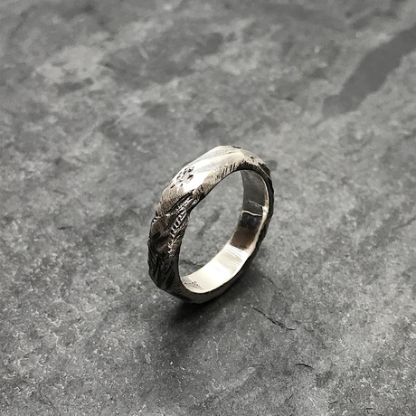 Etched Stacker Ring in Oxidized Silver (5)