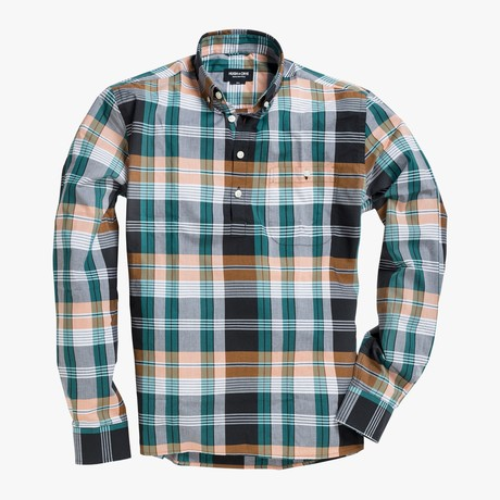 Carson // Green + Orange Stripe Plaid (Small (Skinny))