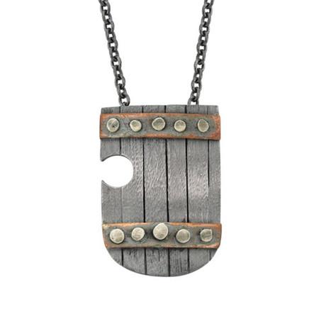 Silver + Copper Shield Necklace (60 cm // 24 in)