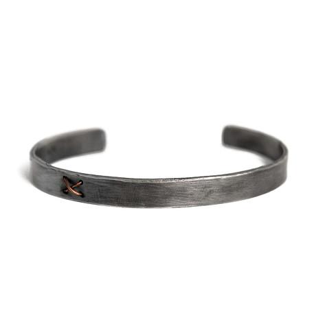 Solid + X Silver Bracelet (5–6 cm // 2–2.3 in)