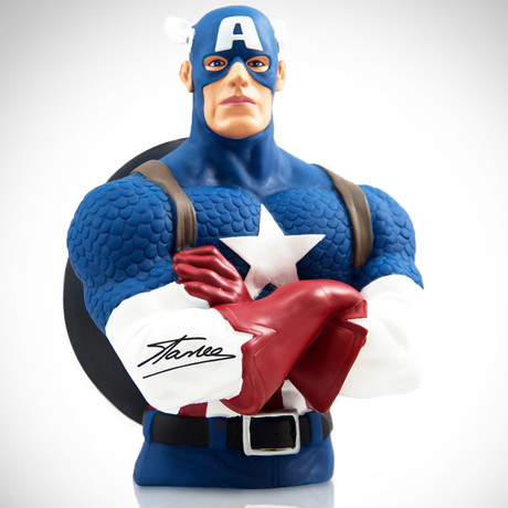 Captain America // Stan Lee Signed // Bust Bank Limited Edition Statue