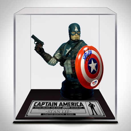 Captain America // Stan Lee Signed // Vintage 2011 Comic Con Statue // Custom Museum Display