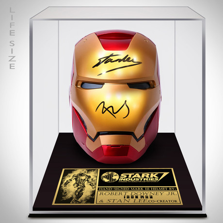 Iron Man Helmet // Stan Lee + Robert Downey Jr. Signed // Custom Museum Display (Signed Helmet Only)