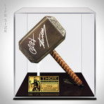 Thor Hammer // Stan Lee + Chris Hemsworth Signed // Custom Museum Display (Signed Hammer Only)