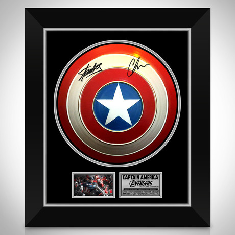 Captain America // Chris Evans + Stan Lee Signed Shield Prop // Custom Shadow Box Frame (Signed Shield Only)