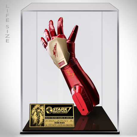 Iron Man // Robert Downey Jr + Stan Lee Signed Arm Prop // Custom Museum Display (Signed Arm Only)