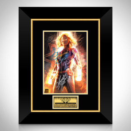 Captain Marvel // Brie Larson + Samuel L. Jackson Signed Photo // Custom Frame