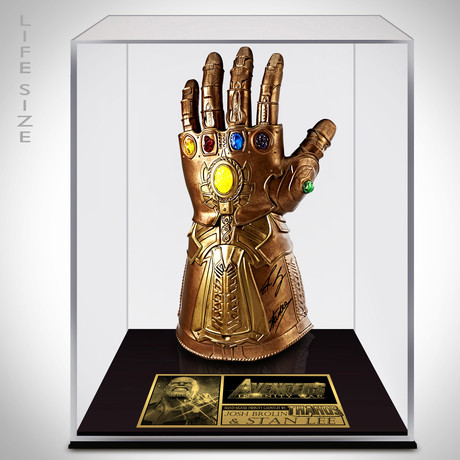 Infinity Gauntlet Articulated + Electronic Prop // Stan Lee + Josh Brolin Signed // Custom Museum Display (Signed Gauntlet Only)