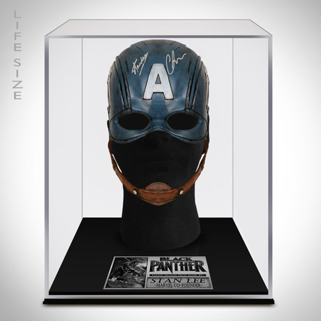 Captain America // Chris Evans + Stan Lee Signed Mask Prop // Custom Museum Display (Signed Mask Only)