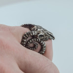Ram Skull 2 Ruthenium Plated Ring // Black (9)