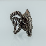 Ram Skull 2 Ruthenium Plated Ring // Black (5)